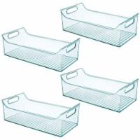 mDesign Plastic Storage Organizer Bin for Kids Supplies, 4 Pack - Sea Blue - 4