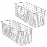 mDesign Metal Wire Food Organizer Storage Bins with Handles - 2