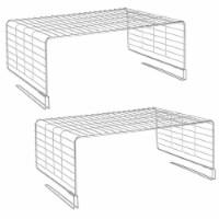 mDesign Metal Wire Closet 2-Tier Shelf Divider and Separator, 2 Pack - Chrome - 2