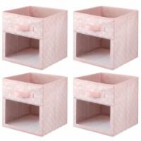 mDesign Kids Fabric Closet Storage Organizer Cube Bin Box, 4 Pack - Pink/White - 4