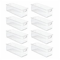 mDesign Stackable Plastic Home Office Storage Bin with Handles, 8 Pack - 8