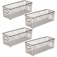 mDesign Deep Metal Bathroom Storage Organizer Basket Bin, 4 Pack - Bronze