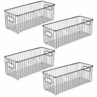 mDesign Deep Metal Bathroom Storage Organizer Basket Bin, 4 Pack - Graphite Gray