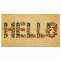 mDesign Entryway Doormat with Natural Fibers, Script - Natural Black/Floral - 1