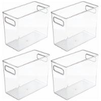 mDesign Slim Plastic Bathroom Storage Container Bin, 5  Wide, 4 Pack - Clear - 4