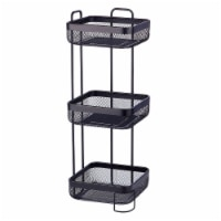 mDesign Vertical Standing Bathroom Shelving Unit Tower with 3 Baskets, Black - 1
