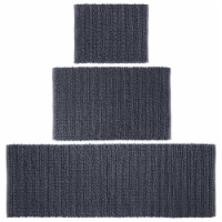 mDesign Soft Cotton Spa Mat Rug for Bathroom, Varied Sizes, Set of 3 - Navy Blue
