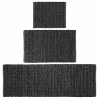 mDesign Soft Cotton Spa Mat Rug for Bathroom, Varied Sizes, Set of 3 - Black
