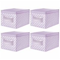 mDesign Stackable Fabric Closet Storage Organizer Box, Lid - 4 Pack - 4