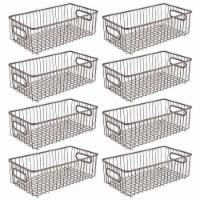 mDesign Metal Kitchen Pantry Food Storage Basket Bin, 8 Pack