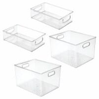 mDesign Plastic Kitchen Food Storage Organizer Bin, 4 Piece Set - Clear - 4