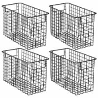 mDesign Metal Storage Basket Bin with Handles for Home Office - 4 Pack - 4