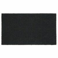 mDesign Doormat with Natural Fibers Decorative Script - Black - 1
