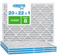 Aerostar 20x22x1 MERV  8, Clean Air Filter, Box of 4 - 20x22x1