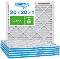 Aerostar 20x20x1 MERV  8, Clean Air Filter, Box of 6 - 20x20x1