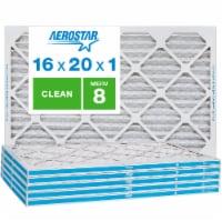 Aerostar 16x20x1 MERV  8, Clean Air Filter, Box of 6 - 16x20x1