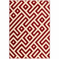 Hanover Indoor/Outdooe Greek Key Rug - Red/Cream