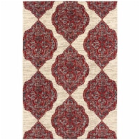Hanover Ikat Design Indoor/Outdoor Accent Rug - Red/Tan