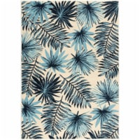 Hanover Tropical Palm Leaf Indoor/Outdoor Accent Rug - Blue/Cream