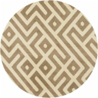 Hanver Indoor/Outdor Round Greek Key Rug - Tan