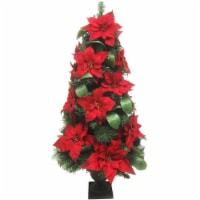 Fraser Hill Farm 4-ft Velvet Poinsettia and Leaf Accents Christmas Porch Tree