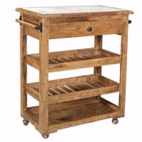 Spacious and Sturdy Kitchen Island With Marble Top, Brown - 1