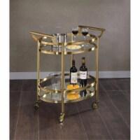 Benzara BM158855 Oval Metal Serving Cart, Clear Glass & Gold