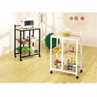 Storage Kitchen Cart, White & Natural Brown