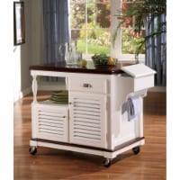 Sophisticated Kitchen Cart With Casters, White And Brown