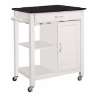 Kitchen Cart With Wooden Top, Black & White - 1