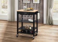 Kitchen Cart With Wooden Top, Natural & Black