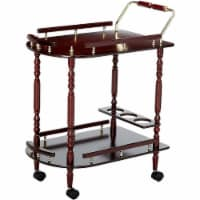Benzara 2 Tier Traditional Serving Cart - Brown