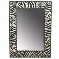 Benzara Wooden Striped Mirror - Black/White