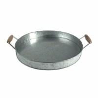 Round Galvanized Metal Serving Tray With Wooden Handles, Gray ,Saltoro Sherpi - 1 unit