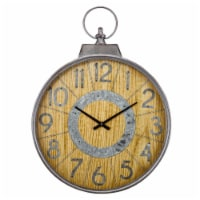 Saltoro Sherpi Simply Charming Wood Wall Clock with Galvanized Accents, Brown - 1 unit