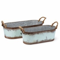 Saltoro Sherpi Homespun Accent Galvanized Sheet Oval Planters, Brown (Set of 2)