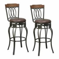Benjara 46  Metal Swivel Barstools with Padded Seat in Black (Set of 2) - 1