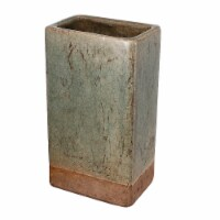 Benzara Textured Tall Ceramic Planter - Slate Gray/Brown