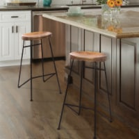 The Urban Port 28  Wood Saddle Seat Barstool with Iron Rod Legs in Brown - 1