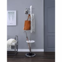 Benzara BM184781 Wood & Metal Coat Rack with Six Hooks & Umbrella Stand, White & Silver - 70 - 1