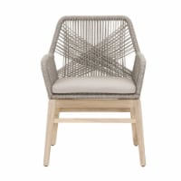 Weave Design Outdoor Dining Arm Chair With Loose Seat Cushion, Gray, Set Of Two - 1