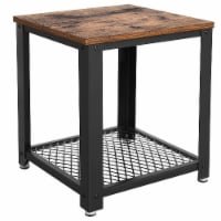 Benzara Metal Frame End Table - Brown/Black