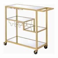 Benjara 16  Rectangular Transitional Metal Serving Cart with Stemware in Gold - 1