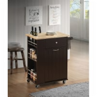 Wooden Kitchen Cart with Spacious Storage and Towel Rack, Brown - 1