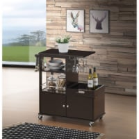 Transitional Style Wooden Kitchen Cart with Serving Tray and Spacious Storage, Brown