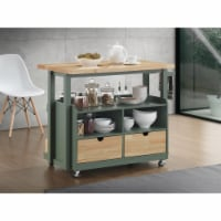 Three Drawer Wooden Kitchen Cart with Open Compartment, Brown and Green
