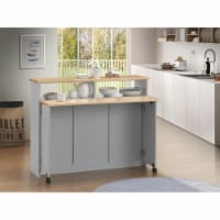 Wooden Kitchen Cart with Nine Open Compartments and Drop Down Leaf, Brown and Gray - 1
