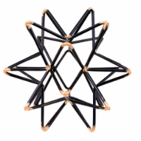 Benzara Intersecting Iron Wire Star Decor with Accented Joints - Black/Gold