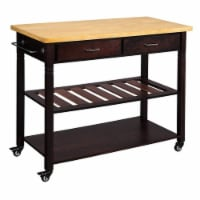 Dual Finish Wooden Kitchen Cart with Two Open Shelves and Two Storage Drawers, Brown
