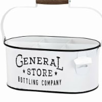 Benzara BM196100 Iron Bottle Caddy Container with Handle & Six Compartments, White & Black